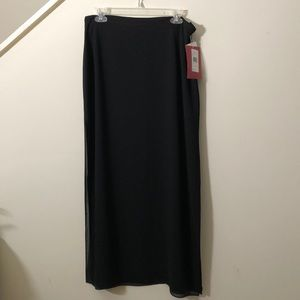 JS Collections Black Sheer Maxi Skirt NWT